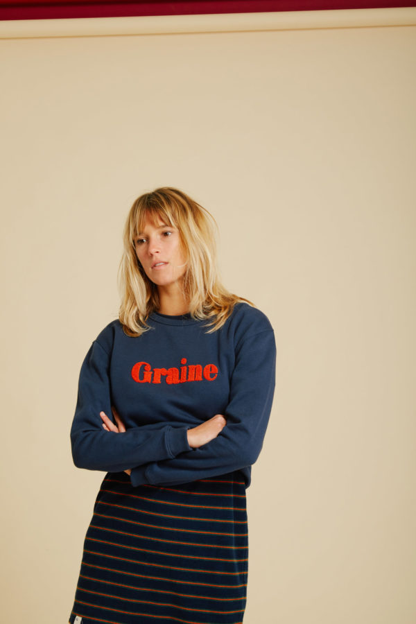 Sweat Carotte - Navy - Graine Collection De(ux) Saisons FW19