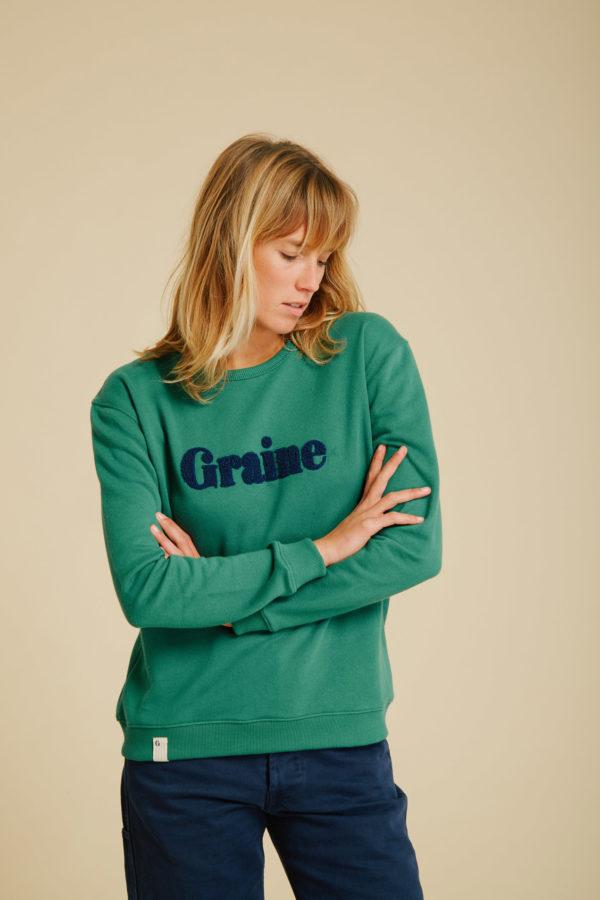 Sweat Carotte - Verdant Green - Graine Collection De(ux) Saisons FW19