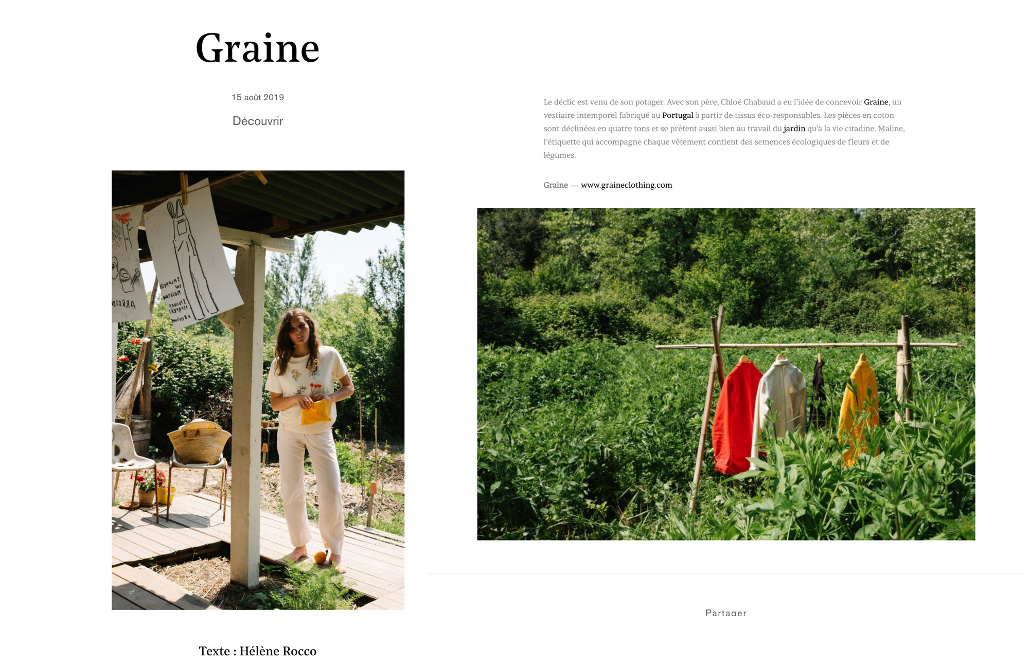 Graine - Parution web sur Mint Magazine