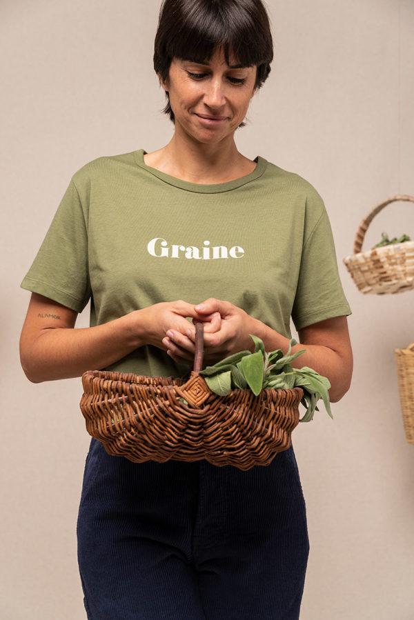 Graine Fw20 Tshirt Cage Amour Kaki Grcage004