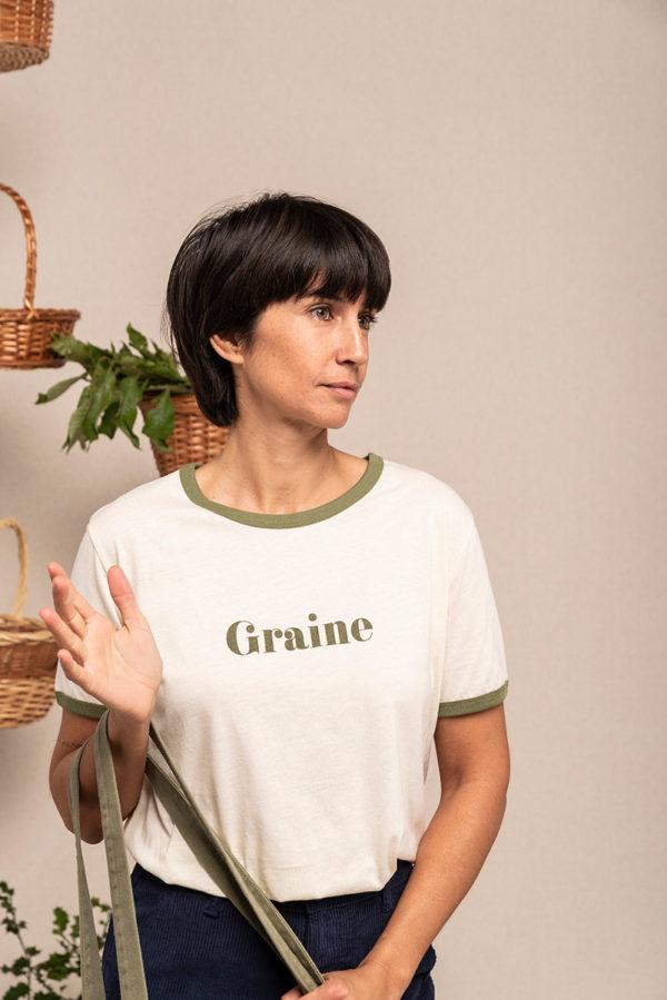 Graine Fw20 Tshirt Cueillette Winter White Kaki Grcueil001