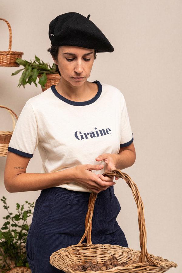 Graine Fw20 Tshirt Cueillette Winter White Marine Grcueil002